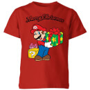 nintendo-super-mario-merry-christmas-present-kinder-t-shirt-rot-7-8-jahre-rot
