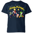 nintendo-super-mario-good-guys-happy-holidays-kinder-t-shirt-navy-blau-3-4-jahre-marineblau