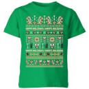 nintendo-super-mario-happy-holidays-the-bad-guys-kinder-t-shirt-grun-11-12-jahre-kelly-green
