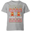 nintendo-super-mario-mario-ho-ho-ho-it-s-a-me-christmas-kinder-t-shirt-grau-9-10-jahre-grau
