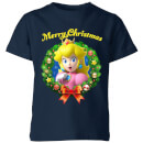 nintendo-peach-merry-christmas-kinder-t-shirt-navy-blau-3-4-jahre-marineblau