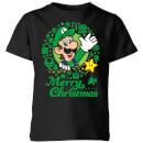 nintendo-super-mario-luigi-wei-wreath-merry-christmas-kinder-t-shirt-schwarz-3-4-jahre-schwarz