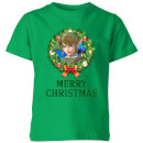 nintendo-the-legend-of-zeldamerry-christmas-wreath-kinder-t-shirt-grun-9-10-jahre-kelly-green