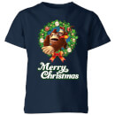 nintendo-donkey-kong-wreath-merry-christmas-kid-s-t-shirt-navy-3-4-jahre-marineblau