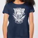marvel-thor-ragnarok-thor-hammer-logo-damen-t-shirt-navy-blau-s-marineblau