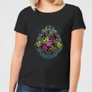 harry-potter-neon-hogwarts-crest-damen-t-shirt-schwarz-s-schwarz