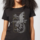 harry-potter-dragon-line-art-damen-t-shirt-schwarz-xxl-schwarz