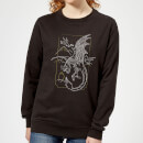harry-potter-dragon-line-art-damen-pullover-schwarz-xs-schwarz