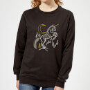 harry-potter-unicorn-line-art-damen-pullover-schwarz-l-schwarz