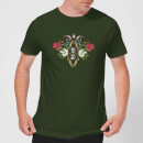natural-history-museum-skulls-and-flowers-men-s-t-shirt-forest-green-l-forest-green
