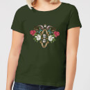 natural-history-museum-skulls-and-flowers-women-s-t-shirt-forest-green-l-forest-green