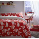 catherine-lansfield-polar-bear-fleece-duvet-set-red-single-rot