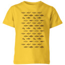 florent-bodart-fish-in-geometric-pattern-kids-t-shirt-yellow-9-10-jahre-gelb