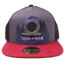 God of War Printed Metal Badge Snapback Cap - Grey Gris Talla única