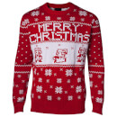 Nintendo Super Mario Fairisle Christmas Jumper - Red - S - Rojo Rojo S