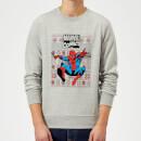 marvel-avengers-classic-spider-man-weihnachtspullover-grau-xl-grau