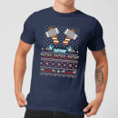 marvel-avengers-thor-pixel-art-herren-christmas-t-shirt-navy-blau-s-marineblau