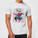 marvel-avengers-classic-spider-man-herren-christmas-t-shirt-grau-s-grau
