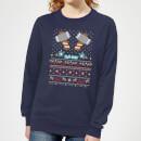 marvel-avengers-thor-pixel-art-damen-weihnachtspullover-navy-blau-xxl-marineblau