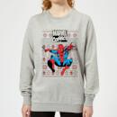 marvel-avengers-classic-spider-man-damen-weihnachtspullover-grau-xs-grau