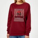 marvel-deadpool-damen-weihnachtspullover-burgunderrot-s-burgunderrot