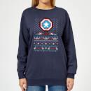 marvel-avengers-captain-america-pixel-art-damen-weihnachtspullover-navy-blau-xs-marineblau
