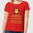 marvel-avengers-iron-man-pixel-art-damen-christmas-t-shirt-rot-s-rot
