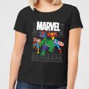 marvel-avengers-group-damen-christmas-t-shirt-schwarz-xxl-schwarz