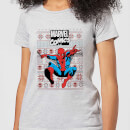 marvel-avengers-classic-spider-man-damen-christmas-t-shirt-grau-s-grau