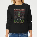 rick-and-morty-christmas-pickle-rick-women-s-sweatshirt-black-xs-schwarz