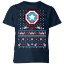 marvel-avengers-captain-america-pixel-art-kinder-t-shirt-navy-blau-3-4-jahre-marineblau