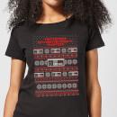 nintendo-christmas-nes-pattern-damen-t-shirt-schwarz-3xl-schwarz