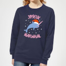 joyeux-narwhal-women-s-christmas-sweatshirt-navy-s-marineblau