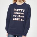 merry-christmas-ya-filthy-animal-women-s-christmas-sweatshirt-navy-s-marineblau