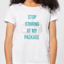 stop-staring-at-my-package-women-s-christmas-t-shirt-white-xs-wei-