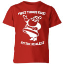 first-things-first-i-m-the-realest-kids-christmas-t-shirt-red-3-4-jahre-rot