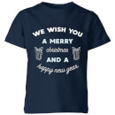 we-wish-you-a-merry-christmas-and-a-happy-new-year-kids-christmas-t-shirt-navy-9-10-jahre-marineblau