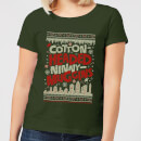 elf-cotton-headed-ninny-muggins-knit-women-s-christmas-t-shirt-forest-green-s-forest-green