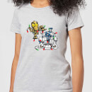 star-wars-tangled-fairy-lights-droids-women-s-christmas-t-shirt-grey-xs-grau
