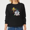 star-wars-tangled-fairy-lights-droids-women-s-christmas-sweatshirt-black-xs-schwarz
