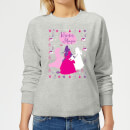 disney-princess-silhouettes-women-s-christmas-sweatshirt-grey-5xl-grau