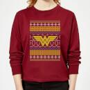 dc-wonder-woman-knit-damen-weihnachtspullover-burgunderrot-xs-burgunderrot