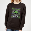 marvel-hulk-punch-women-s-christmas-sweatshirt-black-s-schwarz