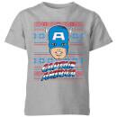 marvel-captain-america-face-kids-christmas-t-shirt-grey-3-4-jahre-grau