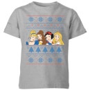 disney-princess-faces-kids-christmas-t-shirt-grey-7-8-jahre-grau