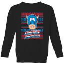 Captain America Face Kids' Christmas Sweatshirt - Black - 7-8 años - Negro Negro M
