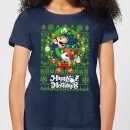nintendo-super-mario-happy-holidays-luigi-women-s-christmas-t-shirt-navy-l-marineblau