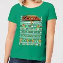 nintendo-legend-of-zelda-pattern-women-s-christmas-t-shirt-kelly-green-xs-kelly-green