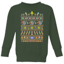 nintendo-super-mario-retro-kid-s-christmas-sweatshirt-forest-green-3-4-jahre-forest-green