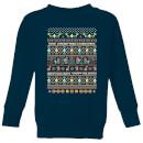 nintendo-super-mario-yoshi-have-a-merry-mario-christmas-kid-s-sweatshirt-navy-3-4-jahre-marineblau